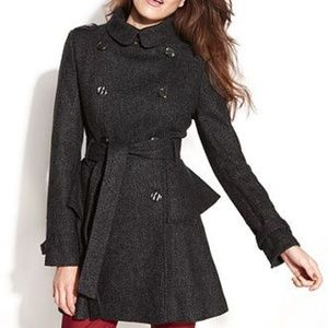 Steve Madden Wool Peplum Trench/Pea Coat Sz XL